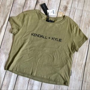 Kendall + Kylie NWT Cropped Tee - Military Green